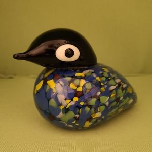 Solid Glass Hand Painted Duck